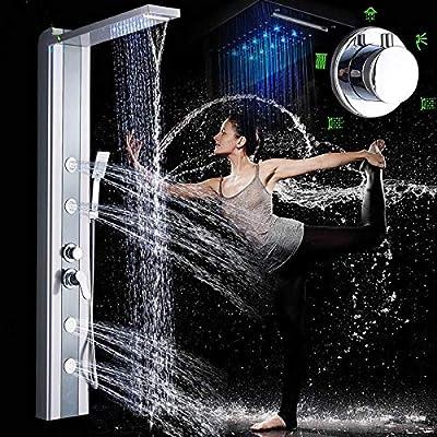 LED Light Shower Panel Tower Brushed Nickel Shower System 3 Function Handshower SPA Massage Sprayer Jet Bath Shower Mixers