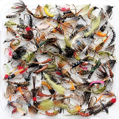 100 oder 204 x gemischte Trockenfliegen zum Forellenfischen 10 25 50 Lakeland Fishing Supplies wasserdichte Fliegenbox
