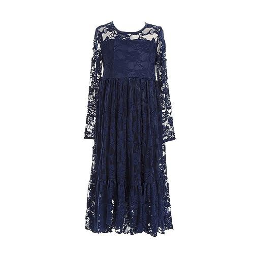 bccd56d5ef3 belababy Flower Girls Dress for Wedding White Ivory Long Lace Dresses