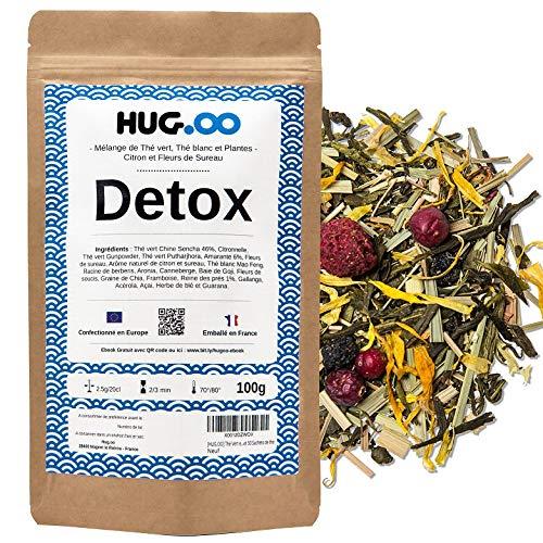 HUGOO - DETOX Thé Vert | Citron-Fleur de Sureau | Infusion Bien être | Draineur Rapide et Efficace | Perte de Poids | Minceur ventre plat | Coupe faim | Guarana | Sachet Vrac 100g + Ebook + Filtres