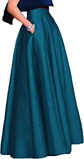 Women'S Long Satin Maxi Skirts High Waist A-Line Prom Party Skirts