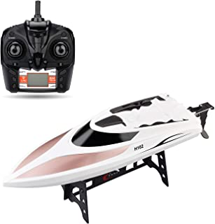 STOTOY TY62 RC Boat Remote Control Electric Racing Boat 2.4GHz 40KM/H High Speed Automatically 180 Degree Flipping Transmitter (White)