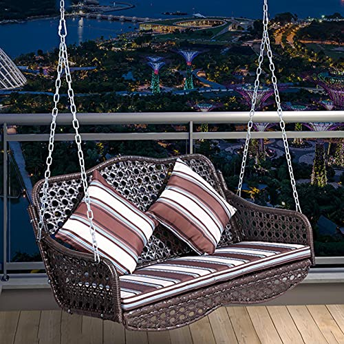 Balcony 2-Seater Hanging Chair Hanging PE Rattan Swing, Ergonomic Leisure Rocking Chair with Metal Chain, Heavy Outdoor Porch Swing