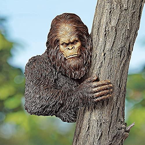TAIYANYU Bigfoot The Bashful Yeti Tree Statue,Whimsical Cartoon Orangutan Sculpture Tree Hugger Decor, Funny Garden Yard Art Tree Sculpture