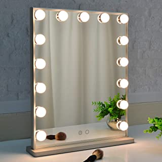 BEAUTME Miroir de vanité Hollywood avec lumières, Miroir de Table/Mur à Commande Tactile avec 15 Ampoules Del à intensité ...
