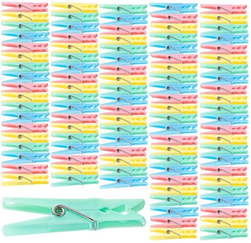 PEARL Wäschklammern: Bunte Wäscheklammern aus Kunststoff, 100 Stück in 4 Farben, 7 cm (Wäscheklammern Sets)