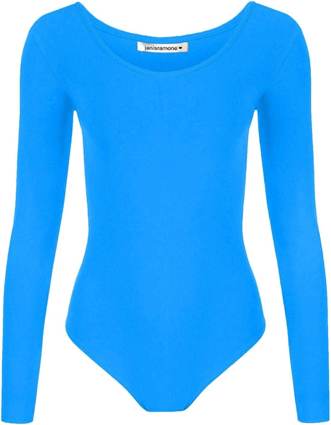 janisramone Girls Kids New Plain Long Sleeve Round Neck Microfibre Stretch Dance Gymnastics Leotard Bodysuit Top