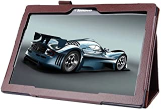 Lobwerk Funda para Lenovo Tab 10TB de x103F 10.1Pulgadas Tablet Funda de Piel sintética Smart Cover Flip Case marrón marrón