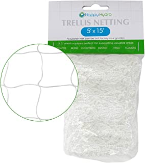 Happy Hydro - Trellis Netting for Garden - Support for Flowers, Tomato Plants, Vines, and More - 3.5 Inch Mesh - 5' H x 15' W