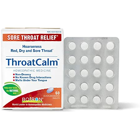 Boiron Throatcalm Tablets for Sore Throat Relief, 60 Tablets
