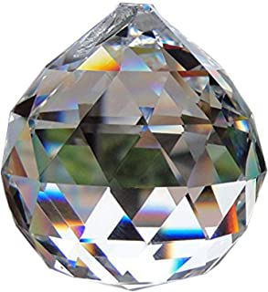 Yoker 50mm Clear Crystal Ball Prisms Pendant Feng Shui Hanging Decorating Faceted Prism Balls