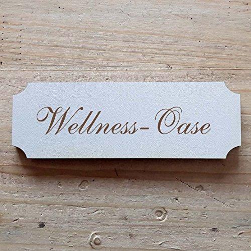 Schild « WELLNESS - OASE » ab: 29 x 9,7 cm - Dekoschild Holzschild Türschild Beauty Spa Kosmetik (29 x 9,7 cm)