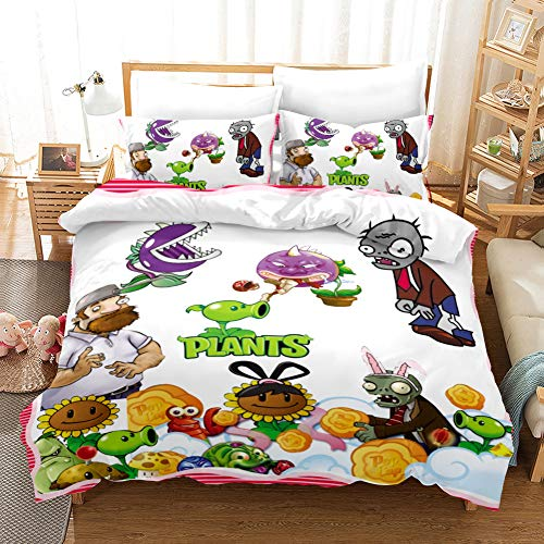 CLOVERDRESS Plants VS. Zombies Bedding Sets 3D Children's Cartoon Duvet Cover Set Best Gifts for Game Funs 3-Piece Includes 1Duvet Cover,2Pillowcases Style6 Twin