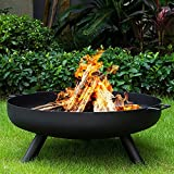 Outdoor Fire Bowl Wood Burning,Extra Large Round Fire Pit,Heavy Duty Metal Fireplace for Charcoal Burning,Cast Iron Rust Proof Stove,31inch(80cm)
