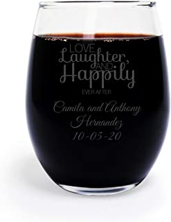 72 Pack Personalized Engraved Love Laughter and Happily Ever After 9 oz stemless Wine Glass, Wedding Favor,Party Favor, Anniversary Favor, Personalized Wine Glass, Bridal Shower Favors