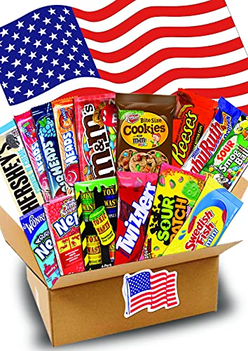 1,5 KG- JUMBO USA Süßigkeiten Box - USA Sweets - verschiedene Leckereien - Perfekte Geschenkidee - Box voller TOP Bestseller- USA Import - 35x 25 x 10 cm