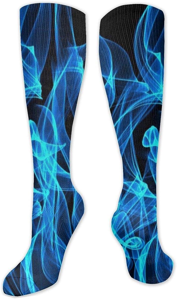 Blue Flame Knee High Socks Leg Warmer Dresses Long Boot Stockings For Womens Cosplay Daily Wear