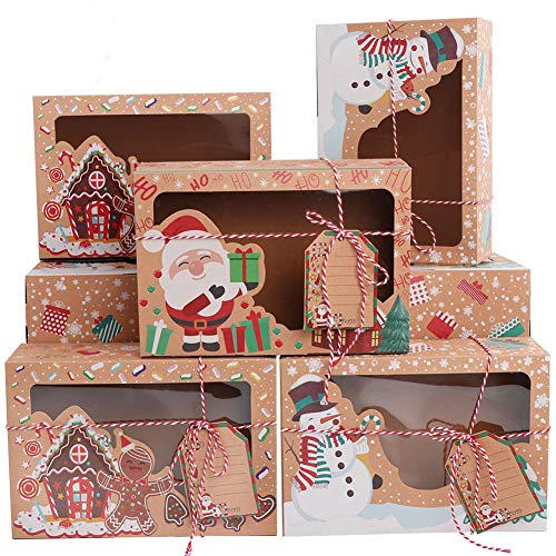 OurWarm 12 Pack Christmas Cookie Boxes with Window, Large Holiday Food Bakery Treat Boxes for Gift Giving, Pastry, Candy, Party Favors, Christmas Kraft Gift Boxes with Ribbons and DIY Gift Tags