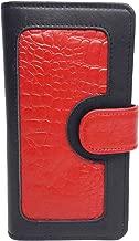 Leather Book LW-1804 Red Crocodile Ladies Wallet|10 card slots|1 card window|4 slide pockets|1 zip pocket | Black Cowhide & Red cowhide Crocodile Print Leather