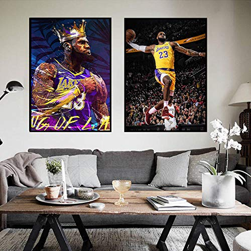 XIXISA NBA Los Angeles Lakers Lebron James Poster Stampa Stampa su Tela Immagine Parete di casa Camera Sala da Basket Decorazione Pittura 50x70 cm Senza Cornice