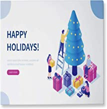 Hitecera Happy Holidays Illustration Russia,Christmas 16x16in