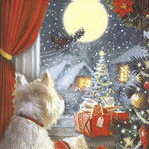 20 Servietten Neugieriger Hund am Weihnachtsbaum | Tiere | Weihnachten 33x33cm