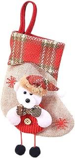 Whitegeese Rustic Santa Snowman Reindeer 3D Burlap Mini Christmas Stockings Christmas Tree DIY Hanging, Gift Card Silverware Holders Decor Christmas Decorations (D)