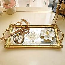 DKee Plateau de rangement vintage en palettes euro, 49 cm entre miroir doré, pour cosmétiques, bijoux, cupcakes, décoratio...