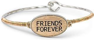 تصميم Elanze الأصدقاء إلى الأبد الذهب والفضة لهجة حجم واحد يناسب معظم المعادن الإسورة مشبك سوار