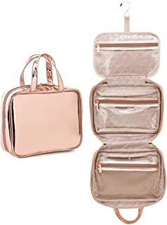 U+U Waterproof Makeup Bags with Zipper, Cosmetic Toiletry Bags Portable Travel Organizer for Women Girls Large Upgraded Hanging Toiletry Bag, Gold