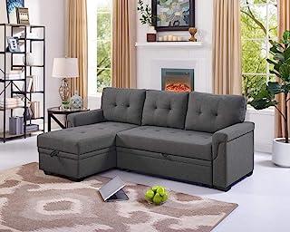 Lilola Home Lucca Linen Reversible Sleeper Sectional Sofa Steel Gray