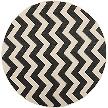 Safavieh Courtyard Collection CY6244-256 Black and Beige Indoor/Outdoor Round Area Rug (6'7  Diameter)