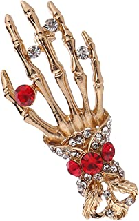 Prettyia Novelty Skull Hand Brooch Pin Crystal Badge Lapel Pins - Women Mens Suit Shirt Wedding Hallowen Party Accessories
