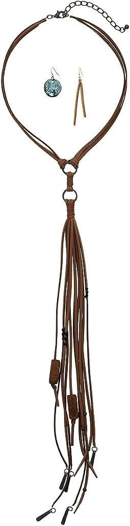 M&F Western - Choker Suede Tassel Necklace/Earrings Set
