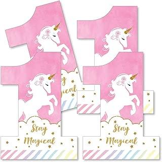 1st Birthday Rainbow Unicorn - One Shaped Decorations DIY Magical Unicorn First Birthday Party Essentials - Set of 20