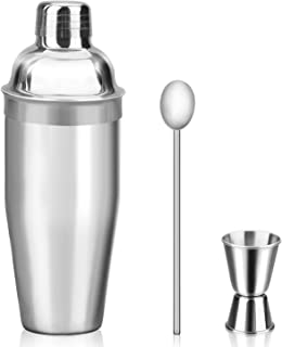 Mngarista 24 oz Cocktail Shaker Set - Drink Shaker - Bartender Kit - Stainless Steel Martini Shaker with Double Jigger and Stainless Steel Straw