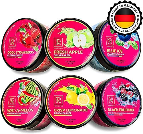 M.ROSENFELD Premium Shisha Steine Nikotinfrei - [6x Dampfsteine set] Made in GERMANY Nikotinfreier Shisha Tabak. Geschmack rockz: Grüner Apfel, Erdbeere, Wassermelone, Zitrone Minze, Blaubeere, Beere