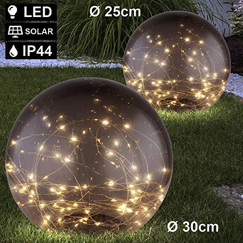 2er Set LED Solar Kugel Leuchten Außen Steck Strahler Garten Deko Lichterkette Hof Erdspieß Lampen