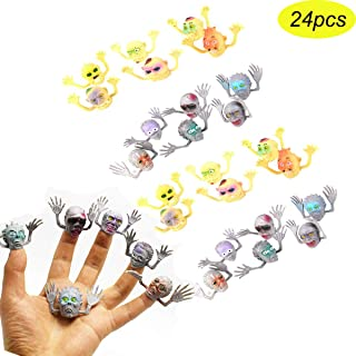 YEMOCILE 24pcs Silicone Monsters Zombie Finger Puppets Horror Finger Toys for Halloween Party Favors Gag Filler Gift Supplies