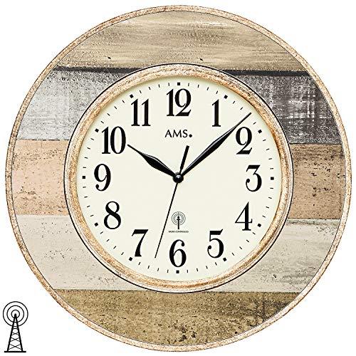 AMS Funk-Wanduhr, Holz, Mehrfarbig, 38 x 38 x 6 cm