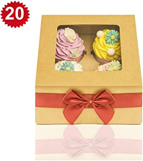 RomanticBaking 20 Pack 4 Cupcake Boxes With Window And Inserts 6 Inch Cake Dessert Bakery Boxes