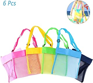 Hatisan 6Pcs Children's Colorful Mesh Beach Bags, Portable Foldable Sea Shell Bag/Toy Storage Bag for Kids Find Treasure [Blue, Pink, Green, Yellow and Sky Blue Rose]