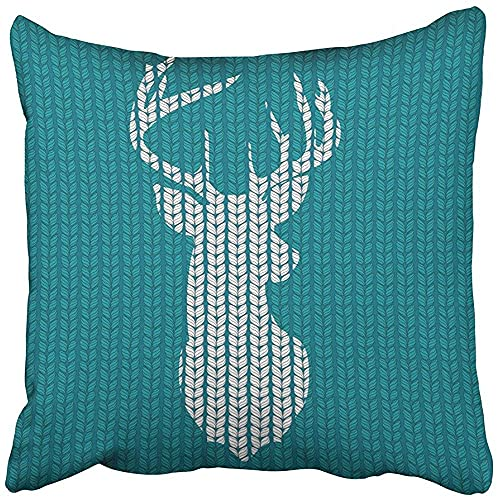 Bokueay Throw Pillow Cover Polyester 18x18 Inch Decorative Red Christmas Knitted Head Deer Silhouette Reindeer White Nordic Winter Crochet Deco Cushion Pillowcase Print Sofa Home