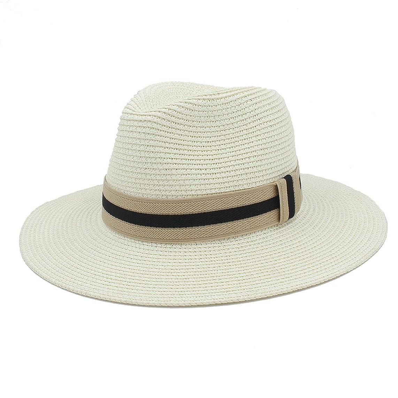 Top Costume Hat Women Men Summer Toquilla Straw Sun Hat for Elegant Lady Wide Brim Homburg Fedora Sunbonnet Beach Sunhat Panama Cap Lightweight (Color : 4, Size : 56-58CM)