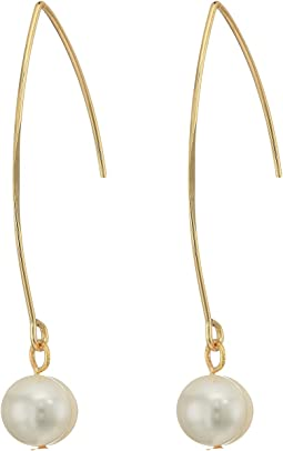Kenneth Jay Lane - Gold/White Fresh Water Pearl Ear Earrings