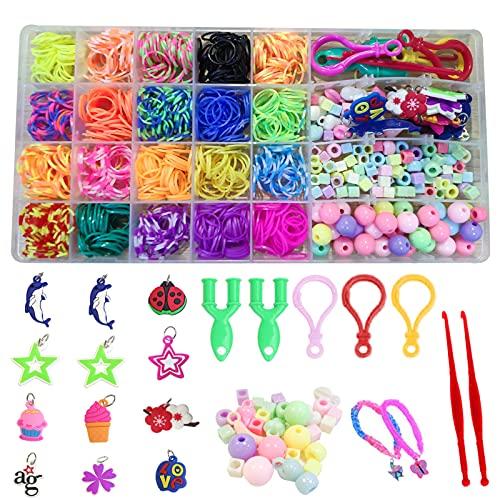 XINCHEN Pulseras Bricolaje De Colores Kit Pulsera Goma Bricolaje Colore Bandas Goma Juguete para Niños de Anillos y Collares de Bricolaje Manualidad