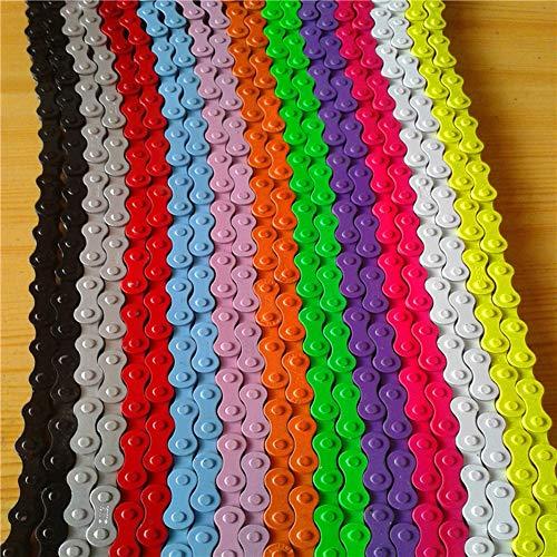 WZM Cadena de Bicicleta Chain Cadena Cadena de Colores Silenciosa, Suave y de Una Sola Velocidad Cadena de Bicicleta de Montaña Cadena de Bicicleta 96 Eslabones (2 Piezas) (Color : Purple)
