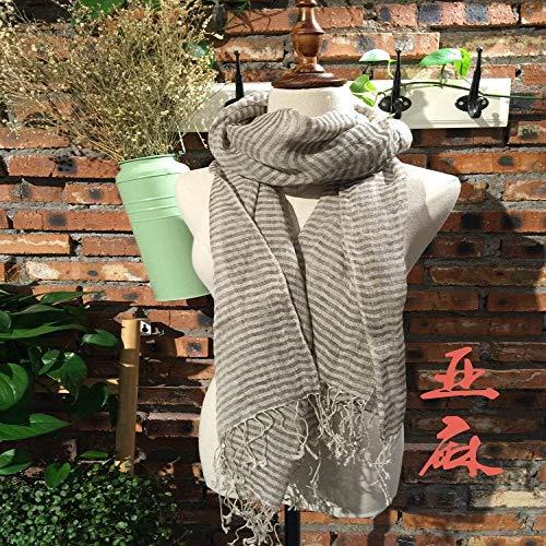 Yan Min Jian Cai Bufanda litera de algodón a cuadros de gasa grande con pañuelo largo de lino puro de doble uso