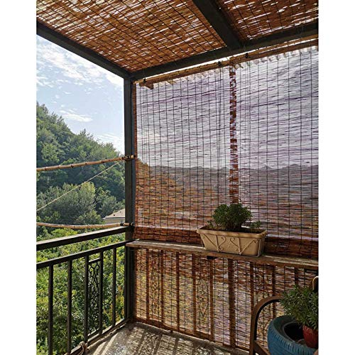 DLLY Bamboo Shades Outdoor,Reed Curtains for Windows,Blackout Roll Up Blinds High-End Custom,for Porches,Balconies,Terraces,Gardens,Waterproof,Dustproof,Weather-Resistant Blinds,140x160cm/55x63in