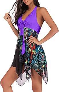 11957ba59d913 2019 Patchwork Asymmetric Bathing Swimsuit Floral Print 2-Pieces Tankini  for Women Purple